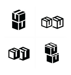 Box interlace icons set vector