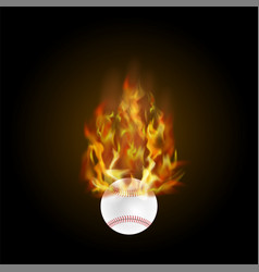 Burning baseball ball with fire flame vector
