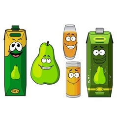 Cartoon green pear fruit and juices vector image