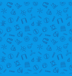 chemistry blue seamless pattern in outline vector image