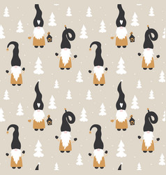christmas seamless patterns with cute gnomes vector image