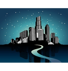 Cityscape with reflection on water at night vector image