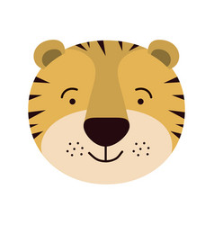 Colorful caricature cute face of male tiger animal vector