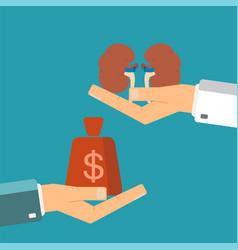 Concept of organ transplant buying kidneys hand vector