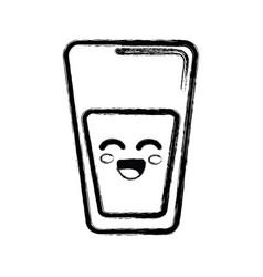 Contour kawaii cute happy juice glass vector
