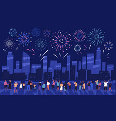 Crowd people watching fireworks displaying in vector