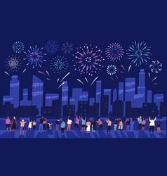 Crowd people watching fireworks displaying vector