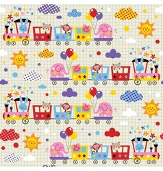 cute animal train kids pattern vector image