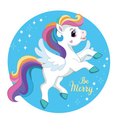 Cute cartoon unicorn with wings vector