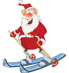 Cute Santa Claus Skiing Cartoon vector image