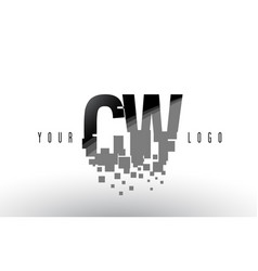 Cw c w pixel letter logo with digital shattered vector