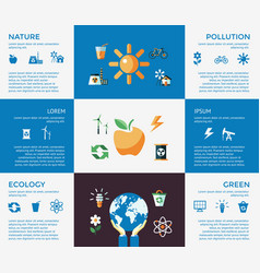 Digital blue ecology icons vector