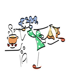 doodle stickman concept cooking vector image