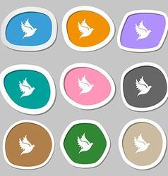 Dove icon symbols Multicolored paper stickers vector image