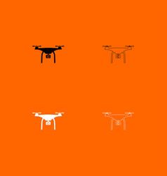 drone black and white set icon vector image