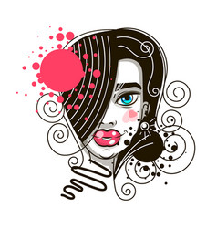 female beautiful face on white background art on vector image