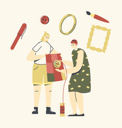 female characters handmade needlework dressmaking vector image