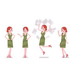 Female clerk positive emotions vector