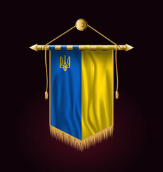 Flag of ukraine with trident festive vertical vector