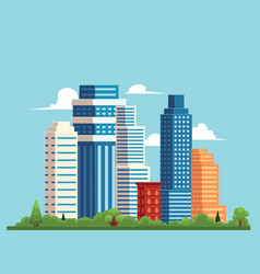 Flat cityscape with building skyscrapers vector