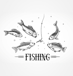 Fly fishing design element vector