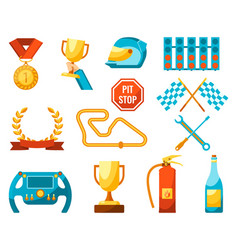 Formula 1 auto sport set of racing icons color vector