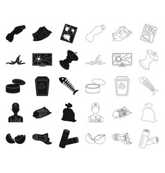 garbage and waste blackoutline icons in set vector image