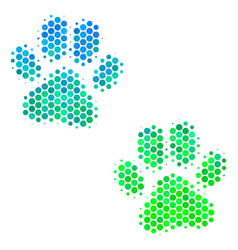 Halftone blue-green paw footprints icon vector