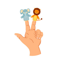 Hand or finger puppets play doll on two fingers vector