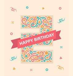 happy birthday number 2 colorful greeting card for vector image