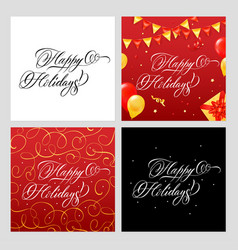 Happy holidays banners set vector