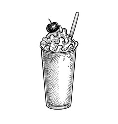 ink sketch milkshake with whipped cream vector image