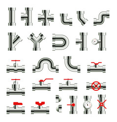 isolated metal pipes and parts steel pipeline vector image