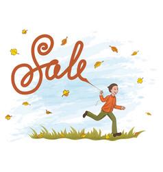 Joyful boy running on the grass with kite like vector