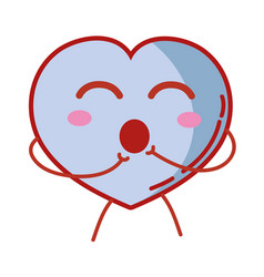 Kawaii cute funny heart love vector