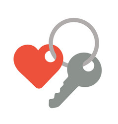 key with a trinket in the shape of heart sign vector image