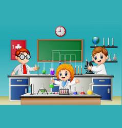 Kids doing experiment in the lab vector