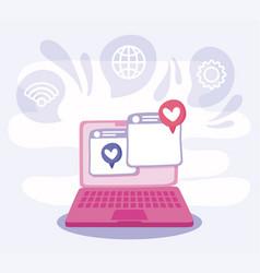 Laptop and websites social media concept vector