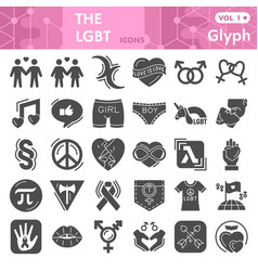 Lgbt solid icon set gender symbols collection or vector