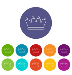 line crown icons set color vector image