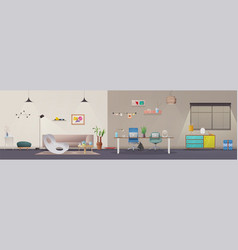 living room and office interior vector image