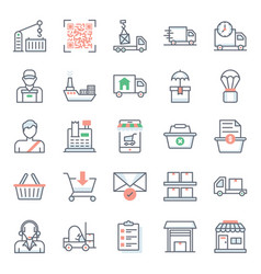 Logistic services flat icons pack vector