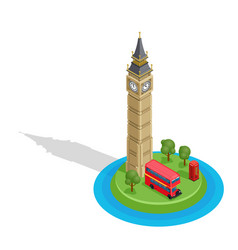 London set detailed isometric big ben vector