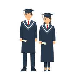 male and female student posing after graduation vector image