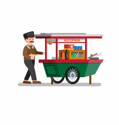 man selling indonesian traditional food in cart vector image