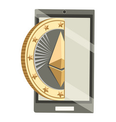 Modern smartphone with ether cryptocoin poster vector
