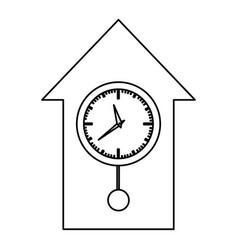 monochrome contour with cuckoo clock vector image