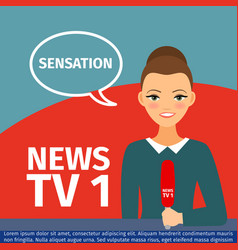 News anchor woman vector