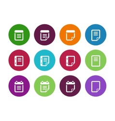 Notepad and sticky note circle icon set vector image