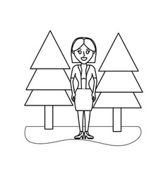 Outline smile woman with elegant clothes and vector